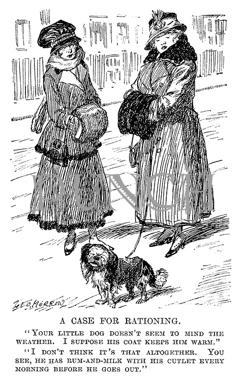 "A Case for Rationing. ""Your little dog doesn't seem to mind the weather. I suppose his coat keeps him warm."" ""I don't think it's that altogether. You see, he has rum-and-milk with his cutlet every morning before he goes out."""