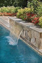 Deck patio Verandah Porch Pool pool house stone wall