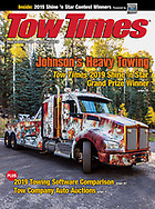 Cover of November 2019 Tow Truck Times. Johnson's Heavy Towing. Flagstaff, Arizona.