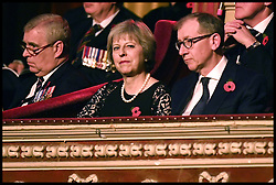 November 12, 2016 - London, United Kingdom - Image ©Licensed to i-Images Picture Agency. 12/11/2016. London, United Kingdom. Royal Festival of Remembrance. ...Prime Minister Theresa May and her husband Philip (right) sit alongside the Duke of York at the annual Royal Festival of Remembrance at the Royal Albert Hall in London...Picture by  i-Images / Pool (Credit Image: © i-Images via ZUMA Wire)