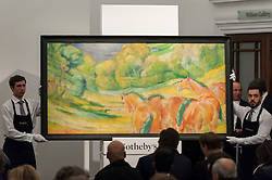 """© Licensed to London News Pictures. 03/03/2016. London, UK.  Marc Chagall's """"Femme à L'Âne vert or Tête de vache verte"""" (sold for a hammer price of £3.5m), at Sotheby's Impressionist, Modern & Surrealist art evening sales in New Bond Street.  The combined total of the sale was forecast to realise between £97-138m. Photo credit : Stephen Chung/LNP"""