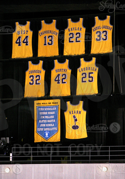 7 April 2007:  Jerseys of retired NBA Lakers  players West, Chamberlain, Baylor, Abdul-Jaabar, Johnson, Worthy, Goodrich, Hall of Fame members and Chick Hearn hang in the arena during the NHL Los Angeles Kings 3-2 win over the Phoenix Coyotes during the last home game of the season at the Staples Center in CA.