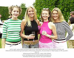 Left to right, sisters MISS CANDIDA BALFOUR, MISS MARIA BALFOUR, MRS GEORGE FRANKS and MISS KINVARA BALFOUR grandchildren of the Duke of Norfolk, at a luncheon in West Sussex on 8th July 2001.	ORA 81