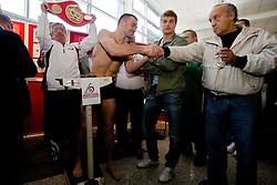 Slovenian Boxer Dejan Zavec alias Jan Zaveck alias Mr. Simpatikus and Martinez'es coach Alberto Andrada at official weighing before defending the title of IBF World Champion, on April 8, 2010, in Avto Delta, Ljubljana, Slovenia.  (Photo by Vid Ponikvar / Sportida)
