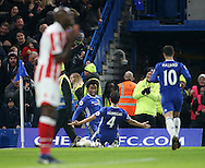 Chelsea's Willian celebrates scoring his sides third goal during the Premier League match at Stamford Bridge Stadium, London. Picture date December 31st, 2016 Pic David Klein/Sportimage