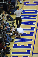 The Washington Wizards defeated the Cleveland Cavaliers 88-87 in Game 5 of the First Round of the NBA Playoffs, April 30, 2008 at Quicken Loans Arena in Cleveland..LeBron James of Cleveland falls in to the media photographers.