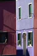 Coloured houses, Barano.Venice, Italy, Europe