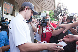 Anze Kopitar ice-hockey player NHL Champion Anze Kopitar welcome ceremony when he arrived home after winning Stanley Cup at the end of season 2011/2012, on June 20, 2012, at airport Jozeta Pucnika, Brnik, Slovenia.(Photo by Grega Valancic / Sportida.com)