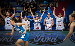 Elisa Ercoli of Italy, Caterina Dotto of Italy, Francesca Dotto of Italy, Elisa Penna of Italy react during basketball match between Women National teams of Italy and Slovenia in Group phase of Women's Eurobasket 2019, on June 30, 2019 in Sports Center Cair, Nis, Serbia. Photo by Vid Ponikvar / Sportida