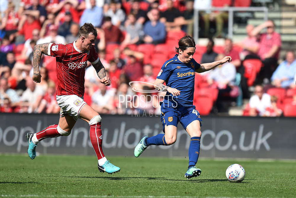 Harry Wilson (49) of Hull City on the attack during the EFL Sky Bet Championship match between Bristol City and Hull City at Ashton Gate, Bristol, England on 21 April 2018. Picture by Graham Hunt.
