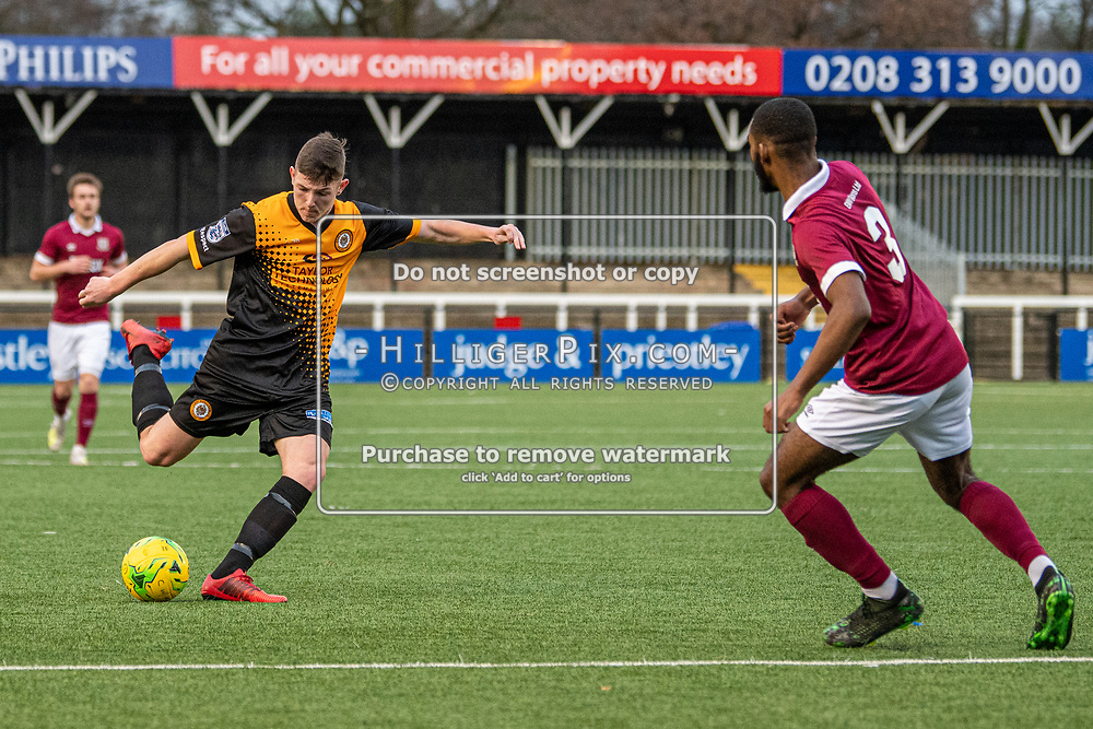 BROMLEY, UK - DECEMBER 07: Lee Lewis, of Cray Wanderers FC, lines up a long range shot during the BetVictor Isthmian Premier League match between Cray Wanderers and Potters Bar Town at Hayes Lane on December 7, 2019 in Bromley, UK. <br /> (Photo: Jon Hilliger)