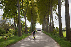 Riejanne Markus (NED) of WM3 Pro Cycling Team works hard to build a lead near the end of the Omloop van Borsele - a 107.1 km road race, starting and finishing in s'-Heerenhoek on April 22, 2017, in Borsele, the Netherlands.
