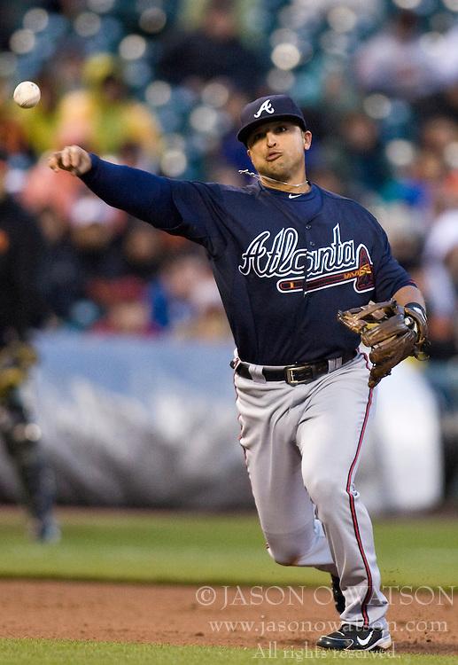 April 11, 2010; San Francisco, CA, USA;  Atlanta Braves shortstop Yunel Escobar (19) makes a throw to first base against the San Francisco Giants during the seventh inning at AT&T Park. San Francisco defeated Atlanta 6-3.