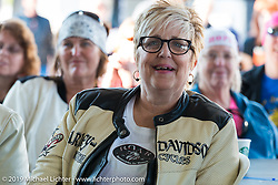 Women's MDA Ride before leaving the Harley-Davidson display for Destination Daytona during Daytona Bike Week. FL, USA. March 11, 2014.  Photography ©2014 Michael Lichter.