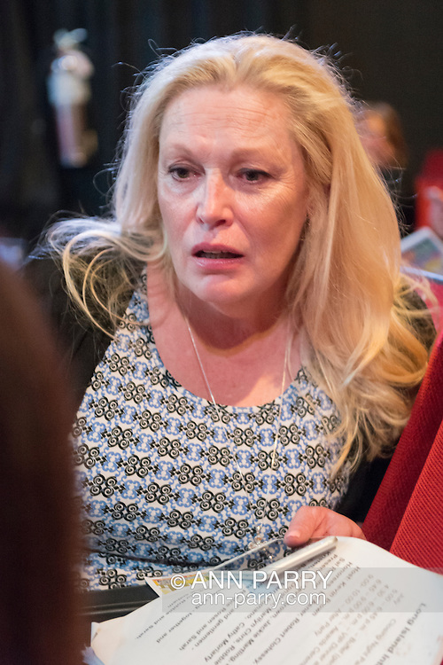 Bellmore, New York, USA. July 21, 2016. Actress CATHY MORIARITY, who was Vikki LaMotta in Raging Bull when she was a teenager, talks with woman before ceremony where she introduces Lifetime Achievement honoree Ed Asner at the 19th Annual Long Island International Film Expo Awards Ceremony, LIIFE 2016, held at the historic Bellmore Movies. LIIFE was called one of the 25 Coolest Film Festivals in the World by MovieMaker Magazine.