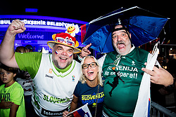 Fans of Slovenia celebrate outside of arena after winning during basketball match between National Teams of Slovenia and Spain at Day 15 in Semifinal of the FIBA EuroBasket 2017 at Sinan Erdem Dome in Istanbul, Turkey on September 14, 2017. Photo by Vid Ponikvar / Sportida