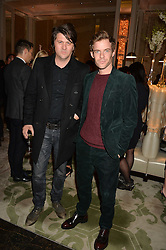 Left to right, ORIAN WILLIAMS and HARRY TREADAWAY at the IWC Schaffhausen hosted Private Screening of The Lobster In Celebration Of The BFI - before the screening a drinks reception was held at The Langham Hotel, London on 15th October 2015.