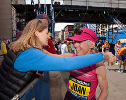 2013 Boston Marathon: Joan Samuelson finishes, greets Mary Wittenberg