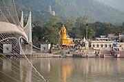 The Ramjula bridge crossing the river Ganges at Rishikesh, Uttarakhand, India