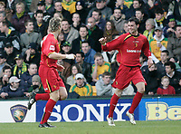 Darius Henderson celebrates after scoring.<br /> Norwich City v Watford, Cocal Cola Championship, 21/01/06. Photo by Barry Bland