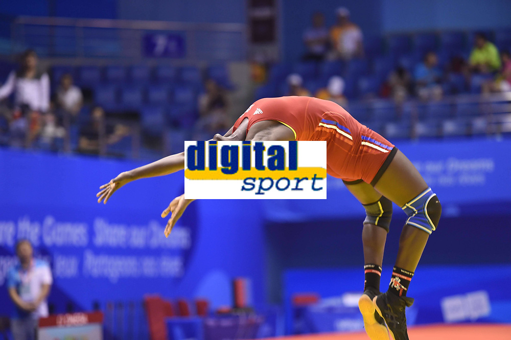 Bryting<br /> 26.08.2014<br /> Foto: imago/Digitalsport<br /> NORWAY ONLY<br /> <br /> NANJING, Aug. 26, 2014 -- Grace Jacob Bullen of Norway celebrates after winning women s freestyle 60-kg event of wrestling competition at Nanjing 2014 Youth Olympic Games in Nanjing, east China s Jiangsu Province, Aug. 26, 2014. Bullen won the gold medal.