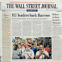 USE ARROWS ← → on your keyboard to navigate this slide-show<br /> <br /> Cover on the Wall Street Journal (Europe Edition) concerning a farmers demonstration in Brussels, June 2009.<br /> Photo: Reuters / Ezequiel Scagnetti
