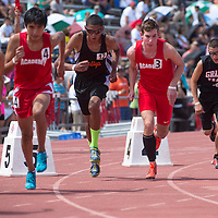 011113      Cayla Nimmo<br /> <br /> Gallup Bengal Alexander Taylor launches himself forward for the 1600 meter race at the State Track Competition Saturday in Albuquerque. Taylor finished second in the 800 meter dash earlier the same day.<br /> <br /> 05/17/14