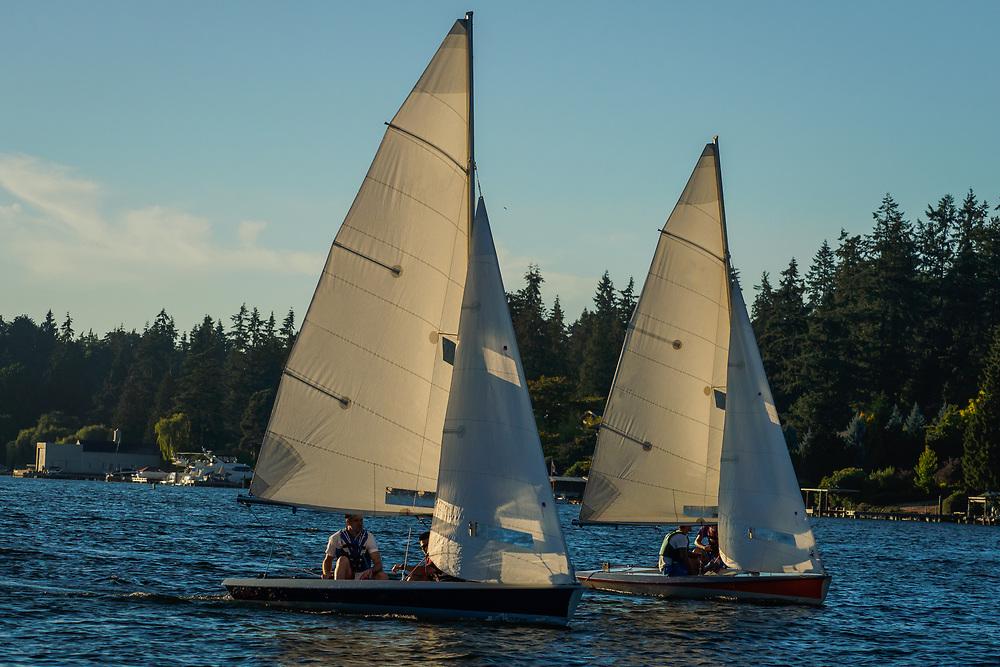 United States, Washington, Bellevue. Marina and sailboats on Lake Washington. Editorial Use Only.