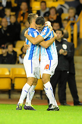 Huddersfield Town's Conor Coady celebrates his goal with Huddersfield Town's Jonathan Hogg - Photo mandatory by-line: Dougie Allward/JMP - Mobile: 07966 386802 - 01/10/2014 - SPORT - Football - Wolverhampton - Molineux Stadium - Wolverhampton Wonderers v Huddersfield Town - Sky Bet Championship