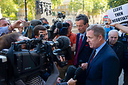 Jeremy Miles, Brexit Minister in the National Assembly for Wales, is interviewed outside the Cabinet office following a meeting in London, United Kingdom on 12th September 2019.