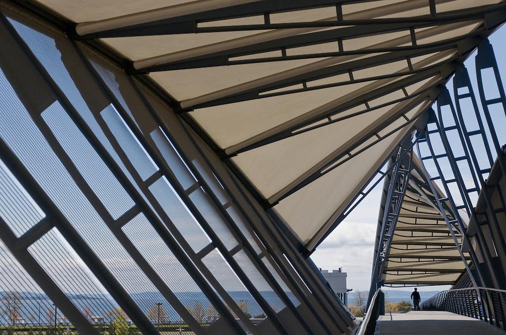 The Amgen Helix Bridge in Seattle, Washington.  Photo by William Byrne Drumm.
