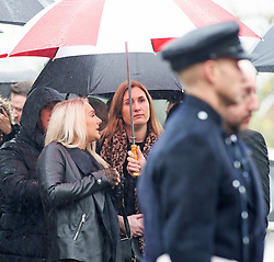 ©Licensed to London News Pictures 30/01/2020<br /> Orpington, UK.  Mr Knott's fiancee Lucy Otto (M). The Funeral of thirty three year old father-of-four and firefighter Anthony Knott at Saint Giles the Abbot Church, Orpington, Kent.  His body was found in the water at Denton Island, Sussex three weeks after he went missing on a night out in Lewes, East Sussex in December 2019. Photo credit: Grant Falvey/LNP