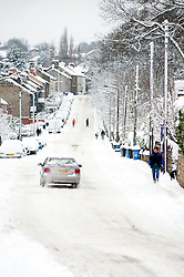 Church Street Ecclesfield Sheffield, most people choose to walk rather than take their cars through the most widespread Snows to hit Britain for 20 years.1st December 2010.Images © Paul David Drabble