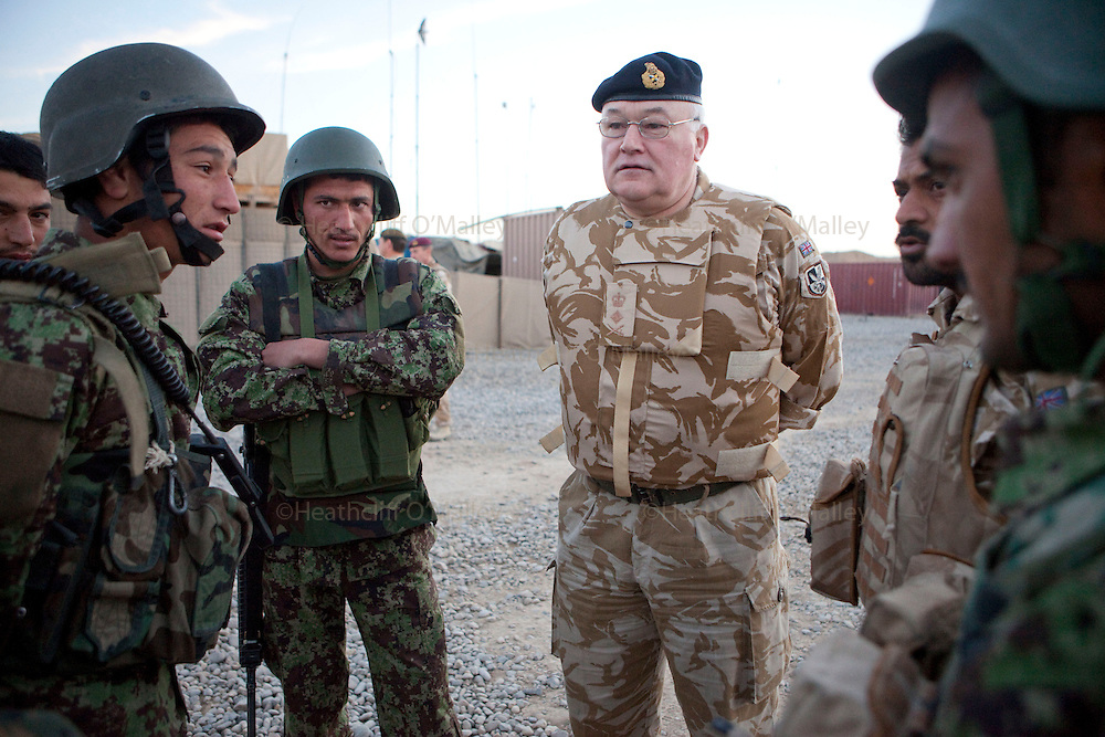 Stock Picture..General Sir Peter Wall talking to Afghan soldiers whilst visiting Helmand province in March 2010 prior to taking up his new post as Chief of General Staff..Nad e Ali, Afghanistan 17 March 2010