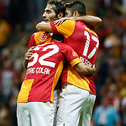 Galatasaray'scelebrates his goal, Emre Colak, Hamit Altintop, Burak Yilmaz (L-R) during their Turkish Super League soccer match Galatasaray between Akhisar Belediyespor at the TT Arena at Seyrantepe in Istanbul Turkey on Sunday 23 September 2012. Photo by TURKPIX