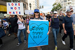 Nov.12, 2016 - Los Angeles, California, U.S. -  Tens of thousands of Angelenos gather in MacArthur Park to march downtown and protest the election of Donald Trump.(Credit Image: © Brian Cahn via ZUMA Wire)