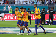 Barcelona Neymar, Barcelona Luis Suarez, Barcelona Lionel Messi and Barcelona Gerard Pique together in warm up during the International Champions Cup match between Real Madrid and FC Barcelona at the Hard Rock Stadium, Miami on 29 July 2017.