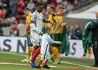 Football - 2016 / 2017 World Cup Qualifier - UEFA Group F: England vs. Lithuania<br /> <br /> Jermain Defoe of England is led to the touchline by Bradley Lowrey at Wembley.<br /> <br /> COLORSPORT/DANIEL BEARHAM