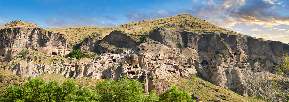 Picture & image of Vardzia medieval cave city and monastery, Erusheti Mountain, southern Georgia (country)<br /> <br /> Inhabited from the 5th century BC, the first identifiable phase of building took place at  Vardzia in the reign of Giorgi III (1156-1184) to be continued by his successor, Queen Tamar 1186, when the Church of the Dormition was carved out of the rock and decorated with frescoes .<br /> <br /> Visit our MEDIEVAL PHOTO COLLECTIONS for more   photos  to download or buy as prints https://funkystock.photoshelter.com/gallery-collection/Medieval-Middle-Ages-Historic-Places-Arcaeological-Sites-Pictures-Images-of/C0000B5ZA54_WD0s<br /> <br /> Visit our REPUBLIC of GEORGIA HISTORIC PLACES PHOTO COLLECTIONS for more photos to browse, download or buy as wall art prints https://funkystock.photoshelter.com/gallery-collection/Pictures-Images-of-Georgia-Country-Historic-Landmark-Places-Museum-Antiquities/C0000c1oD9eVkh9c