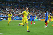Romania Forward Bogdan Stancu celebrates the equalising goal 1-1 during the Group A Euro 2016 match between France and Romania at the Stade de France, Saint-Denis, Paris, France on 10 June 2016. Photo by Phil Duncan.