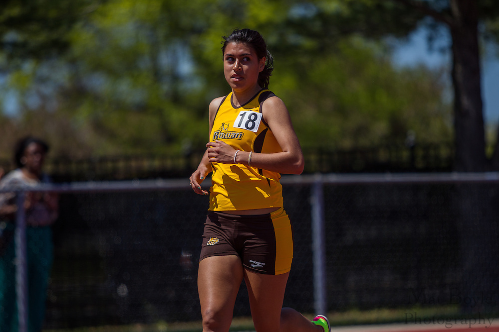 Rowan University's Brenda Mendez competes in the women's 5000 meter at the NJAC Track and Field Championships at Richard Wacker Stadium on the campus of  Rowan University  in Glassboro, NJ on Sunday May 5, 2013. (photo / Mat Boyle)