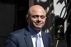 © Licensed to London News Pictures. 01/05/2018. London, UK. Newly appointed Home Secretary Sajid Javid leaving Downing Street after attending a Cabinet meeting this morning. Cabinet positions have recently shuffled around, following Amber Rudd's resignation as Home Secretary, following the Windrush scandal. Photo credit : Tom Nicholson/LNP