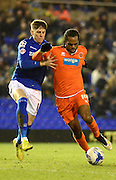 Nathan Delfouneso on the attack during the Sky Bet Championship match between Birmingham City and Blackpool at St Andrews, Birmingham, England on 4 March 2015. Photo by Alan Franklin.