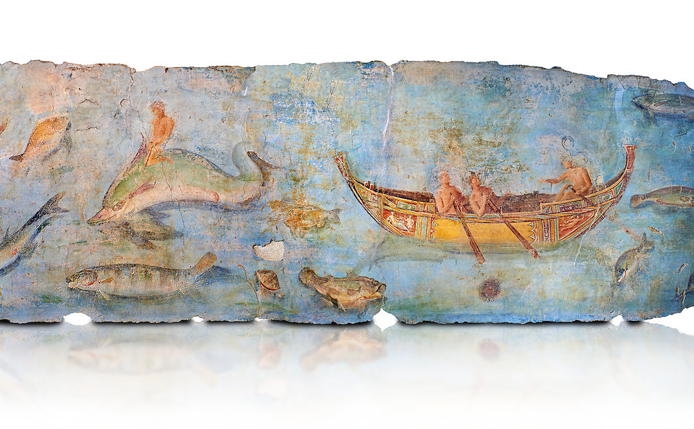 Roman Fresco with boats and marine life from the second quarter of the first century AD. (mosaico fauna marina da porto fluviale di san paolo), museo nazionale romano ( National Roman Museum), Rome, Italy. inv. 121462 .  Against a white background.<br /> The frescoes depict boats decorated as boats which went along the Tiber on festival days; their shape appears to be the caudicariae boats, used to transport merchandise. In the fresco fragment exhibited here (Ambiente E) the boat on the left depicts probably the group of 'side Serapide and Demetra on the stern, whereas the one on the right presents a crowned character on the bow and, on the stern, a feminine figure fluctuating in the air. Between the two boats, a young boy (a cupid or Palaimon-Portunus) rides a dolphin. All around are depicted several fish incredibly casting their shadows on the sea. The ichthyic fauna, lifeless as in still life decoration, is detailed as in a scientific catalogue. For the most part the represented species live next to the coast or were bred by the Romans in the piscinae salsac or in ponds. It is possible to recognize the rock mullet (mullus sunnuletus) and the mud one (mullus barbatu4 the scorpion fish (scorpoena) the dentex (dentex dentex), the aguglia (belone agus) the dolphin (delphinus delphis) and the golden mullet (lire curate). .<br /> <br /> If you prefer to buy from our ALAMY PHOTO LIBRARY  Collection visit : https://www.alamy.com/portfolio/paul-williams-funkystock/national-roman-museum-rome-fresco.html<br /> <br /> Visit our ROMAN ART & HISTORIC SITES PHOTO COLLECTIONS for more photos to download or buy as wall art prints https://funkystock.photoshelter.com/gallery-collection/The-Romans-Art-Artefacts-Antiquities-Historic-Sites-Pictures-Images/C0000r2uLJJo9_s0