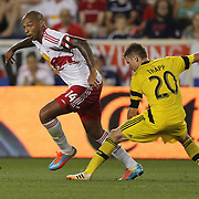 Thierry Henry, (left), New York Red Bulls, goes past Wil Trapp, Columbus Crew, during the New York Red Bulls Vs Columbus Crew, Major League Soccer regular season match at Red Bull Arena, Harrison, New Jersey. USA. 12th July 2014. Photo Tim Clayton