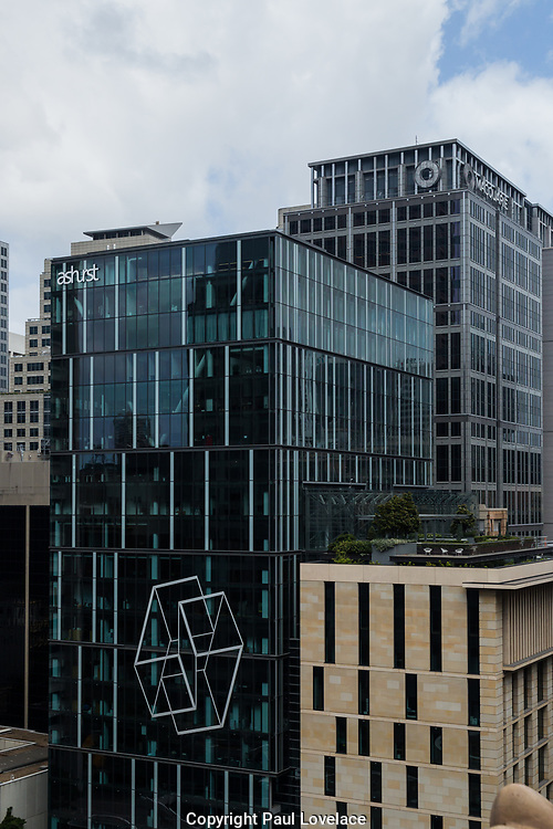 Open Sydney presented by Sydney Living Museuems. This event every year allows Sydneysiders to visit 40 of the city's most significant buildings and spaces across the CBD. View of Ashurst International Law Firm from roof of Macquarie Bank, 50 Martin Place, Sydney