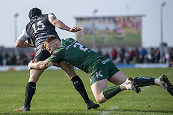 March 2, 2019 - Galway, Ireland - Dan Evans of Ospreys tackled by Shane Delahunt of Connacht during the Guinness PRO 14 match  between Connacht Rugby and Ospreys at the Sportsground in Galway, Ireland on March 2, 2019  (Credit Image: © Andrew Surma/NurPhoto via ZUMA Press)