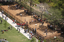 Stock photo of an aerial view of the dog park area