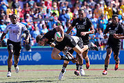 Kurt Baker gets some after being tackled during Day 3 of the HSBC World Rugby Sevens, Mens Semi Final match between New Zealand and Fiji, 2019, Spotless Stadium, Saturday 3rd February 2019. Copyright Photo: David Neilson / www.photosport.nz