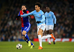 Leroy Sane of Manchester City takes on Luca Zuffi of Basel - Mandatory by-line: Matt McNulty/JMP - 07/03/2018 - FOOTBALL - Etihad Stadium - Manchester, England - Manchester City v Basel - UEFA Champions League, Round of 16, second leg